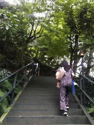 樹ガーデンの長い階段